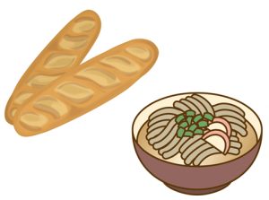 主食のパンと麺